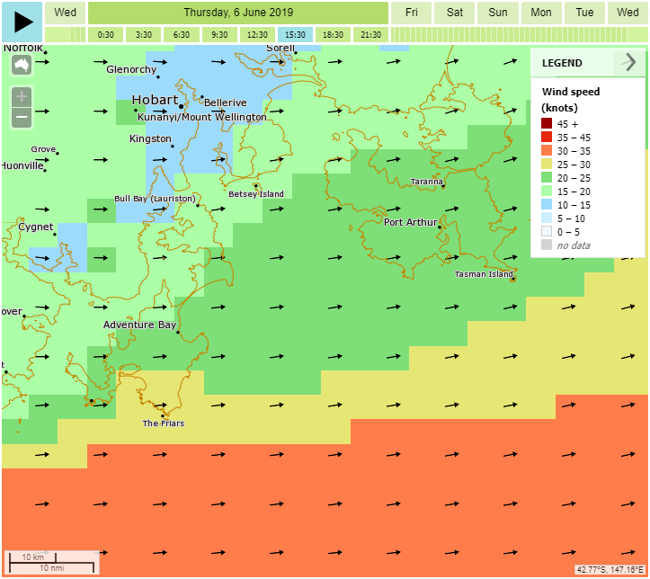 Example map around Hobart showing stronger winds offshore (yellow and orange colours) compared to lighter winds (green colours) in protected coastal bays.