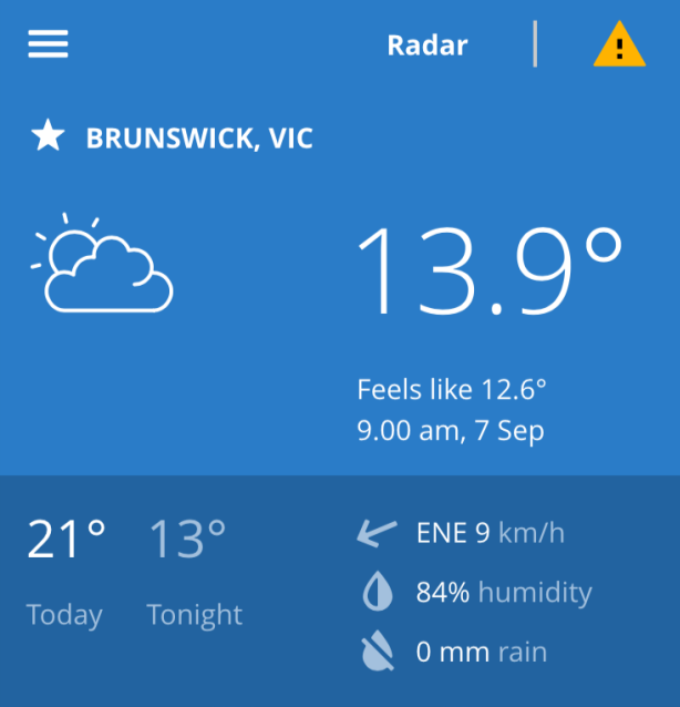 BOM Weather app view for Brunswick, Victoria