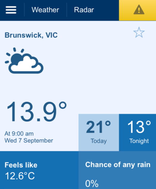 Bureau mobile website view for Brunswick, Victoria (http://m.bom.gov.au/vic/brunswick)