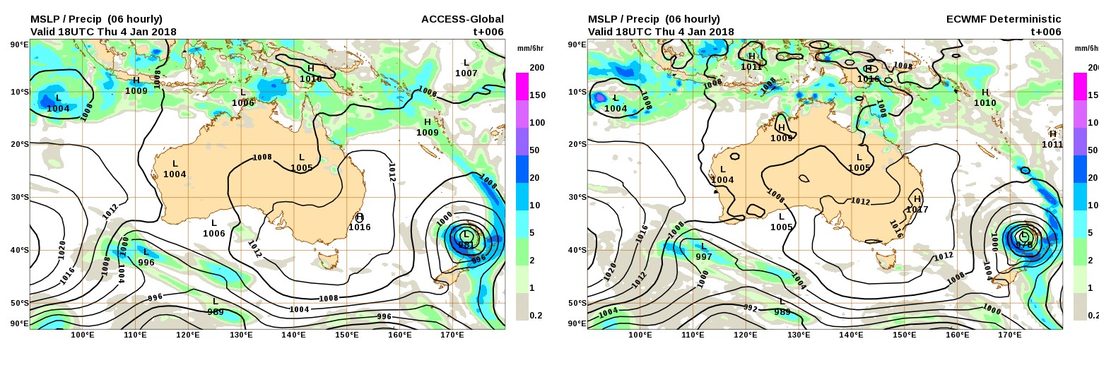 The ACCESS model (left) and the EC model (right) showing forecast conditions for the same period.