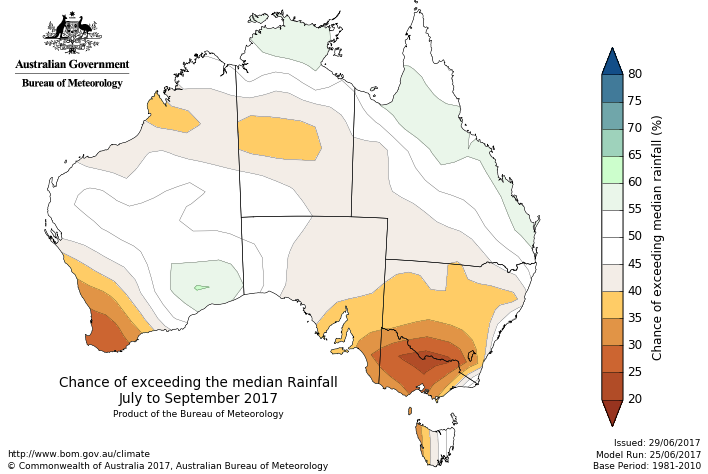 Image: The outlook for July to September suggests dry conditions will continue in southern Australia