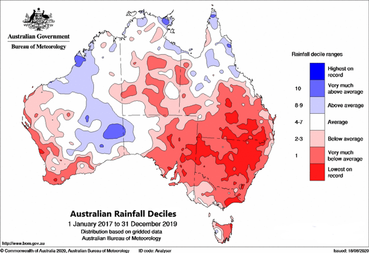 Map of Australia showing strong rainfall deficiencies over much of Victoria, New South Wales, South Australia, central and southern Queensland, the Northern Territory and southwest Western Australia.