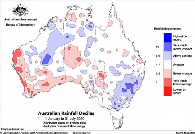 Map of Australia showing average and above-average rainfall for most of the country, except parts of the Northern Territory and much of southern Western Australia.