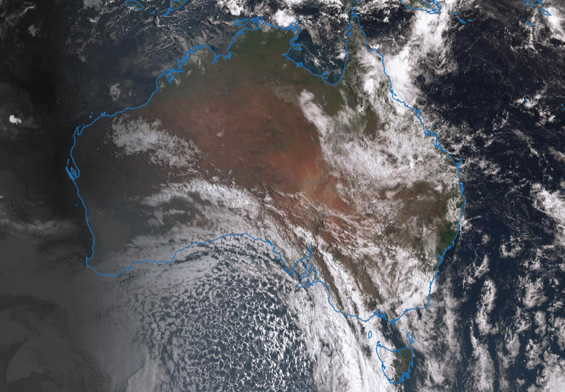 Satellite image of Australia showing clouds around the country