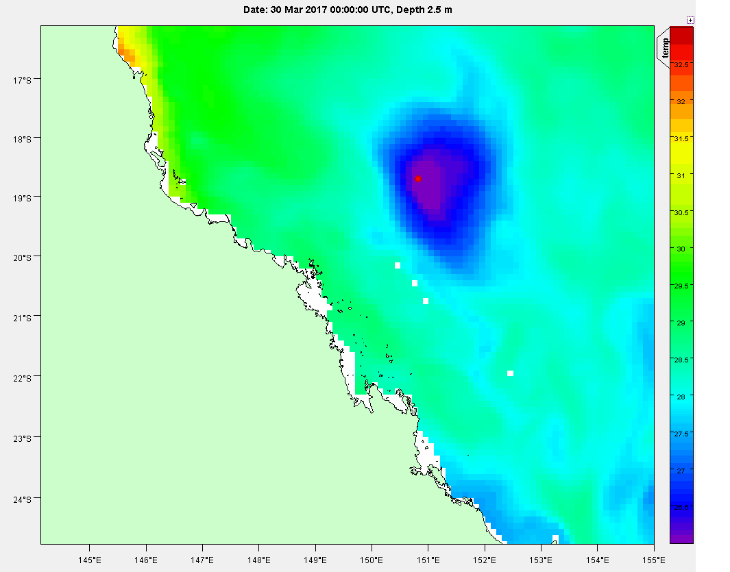 Image showing the large reduction in ocean temperatures off the Queensland coast after the crossing of severe tropical cyclone Debbie in April 2017.