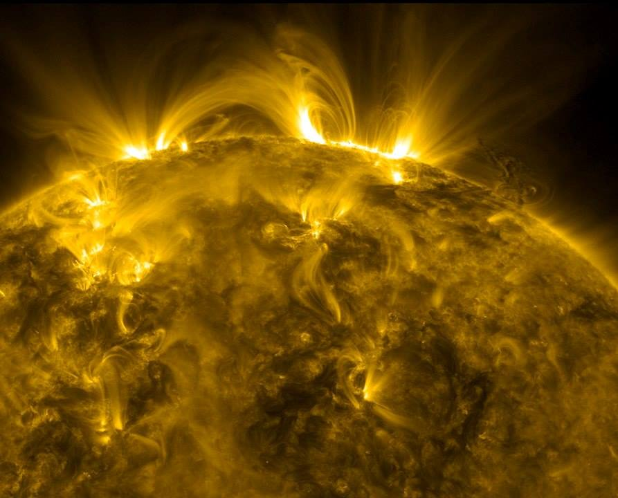 Looping tubes of plasma (or 'solar prominence') are constrained by the sun's magnetic fields, but can be ejected into space when these become unstable.