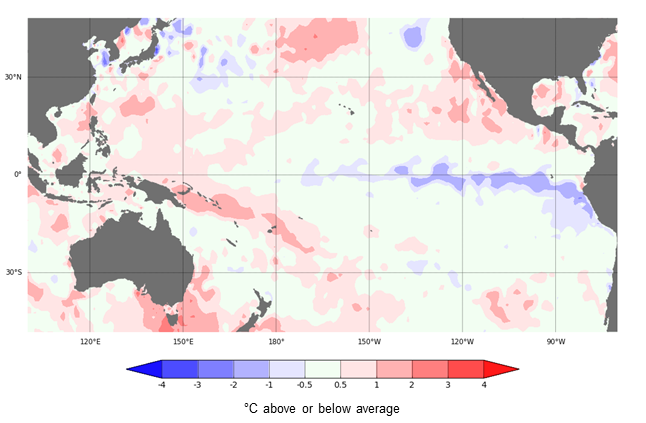 Map: Cooler-than-average sea surface temperatures in the eastern tropical (or equatorial) Pacific Ocean, one of the indicators of La Niña. The colour scale shows degrees difference from average temperatures for this time of year.