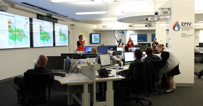 Image: A briefing at Victoria's State Control Centre. Credit: EMV