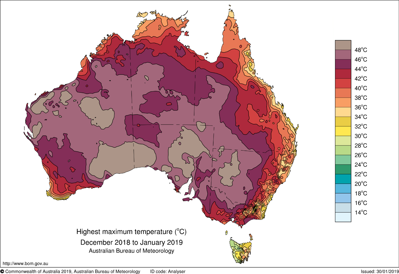 Map of Australia showing December–January highest maximum temperatures. The great majority of the map is brown or purple, indicating 44–48 °C, with most of the rest of the country showing as red or orange (36 °C to 42 °C). Only small areas of the east coast, Tasmania and southwest WA were below that.