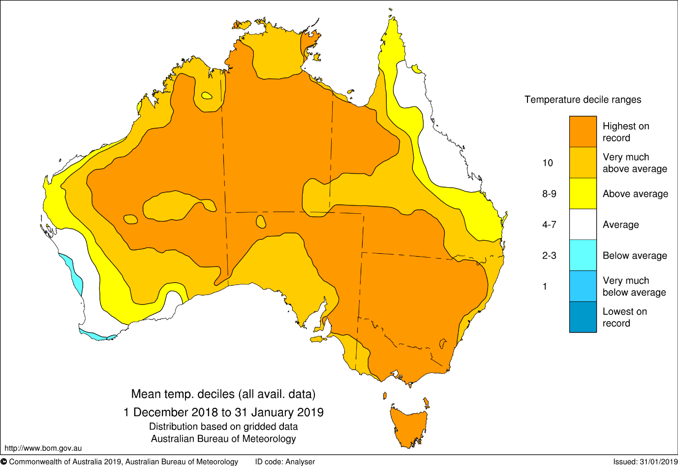 Map showing temperature deciles for December-January. only small areas of the country in southwest WA and Queensland's coast that were average or below average.