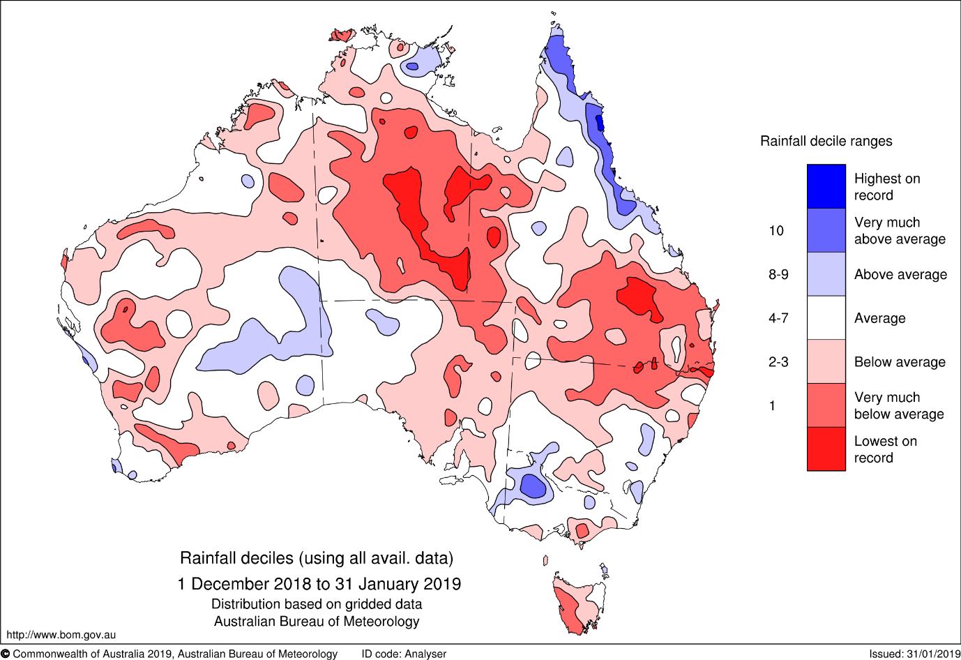 Map of Australia showing rainfall deciles for December–January. Most of the map is different shades of red or pink, indicating various levels of below-average rainfall. Only small areas of Queensland's northern coast, the Top End, western Victoria and inland Western Australia were above average.