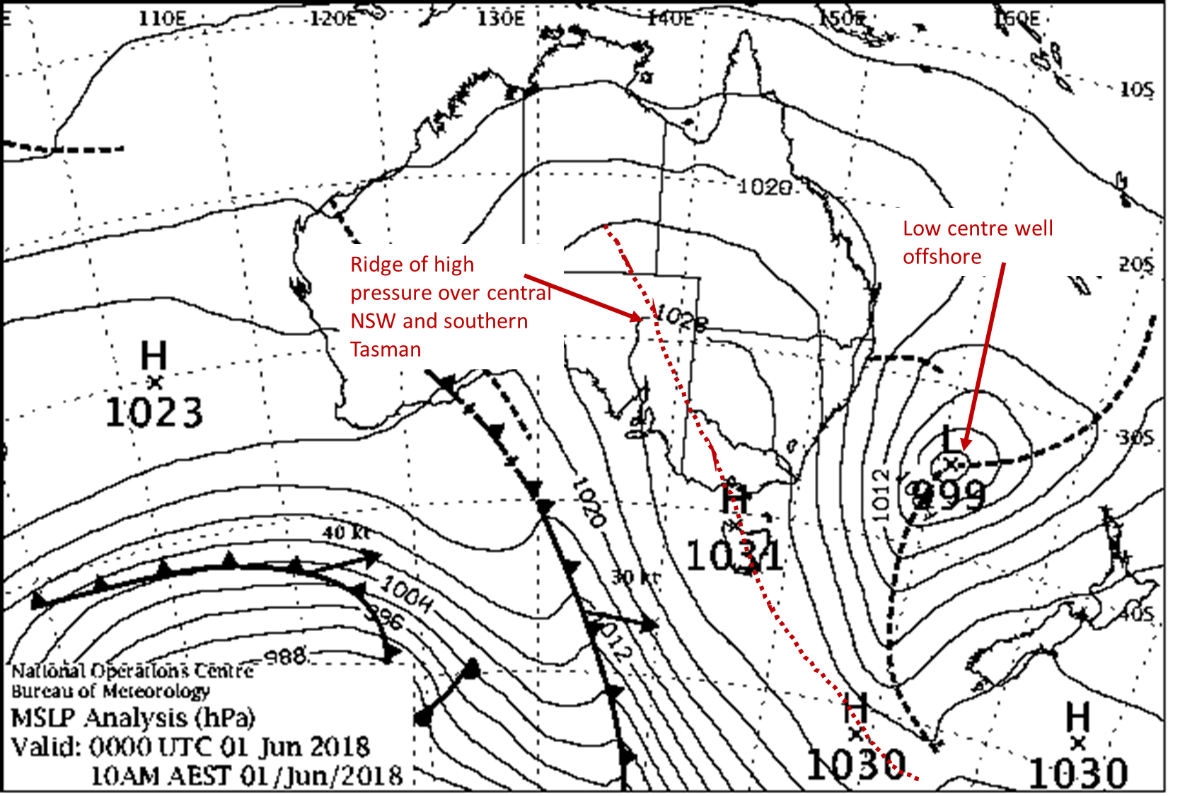 Weather map showing a low pressure system well offshore to Australia's east and a ridge of high pressure over central NSW and the southern Tasman.