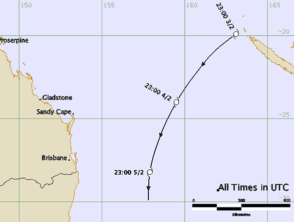 Track map: tropical cyclone Pam