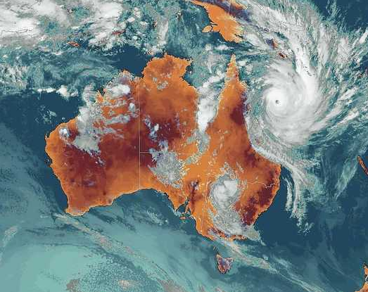 Satellite view of severe tropical cyclone Yasi on 3 February 2011.