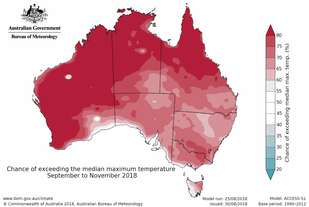 Map showing the chance of exceeding the median maximum temperature September–November 2018.