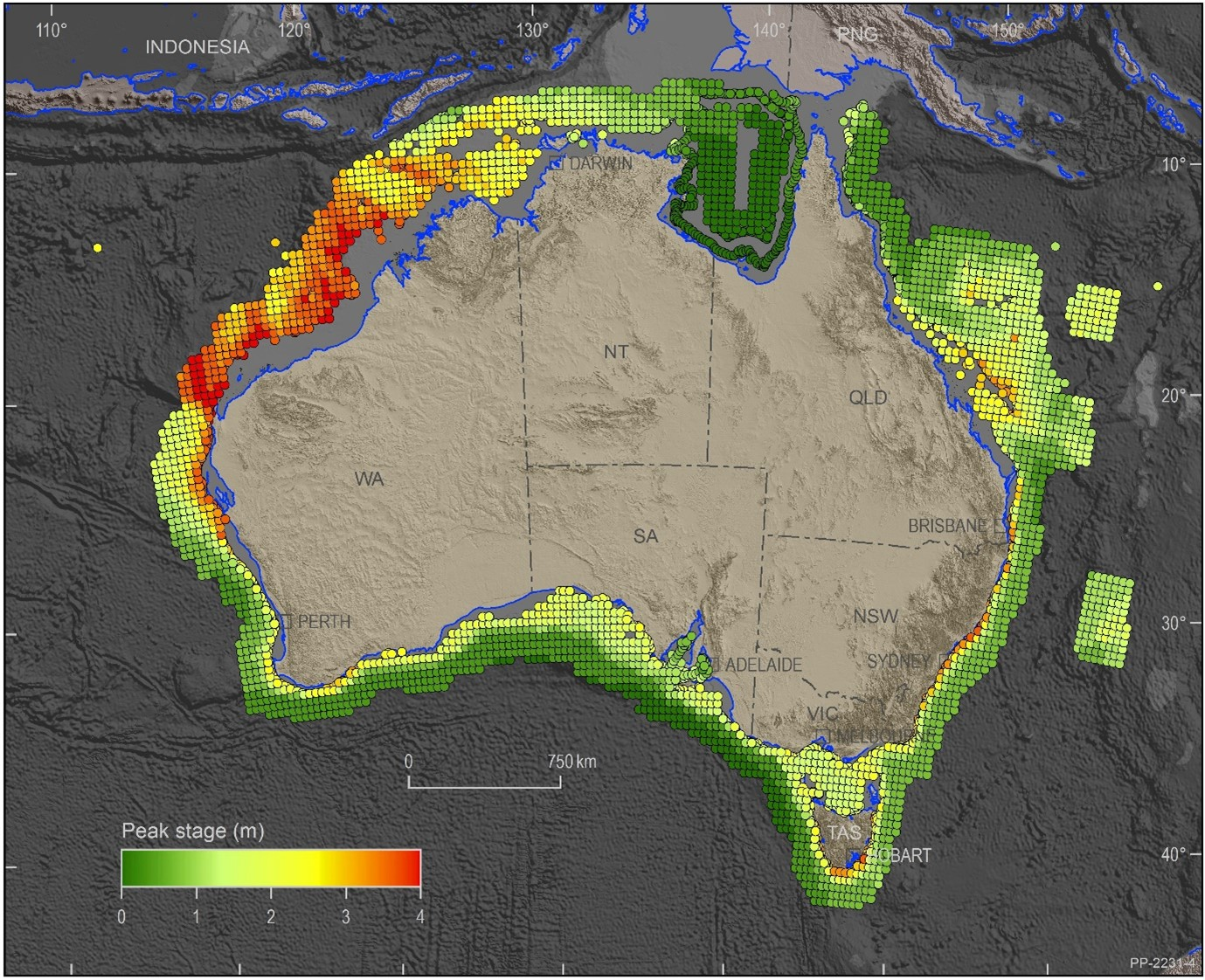 Map of Australia showing modelled one-in-1000-year tsunami wave height in the waters offshore.