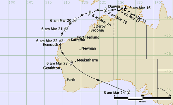Track map for cyclone Vance, showing timeline, path and intensity.