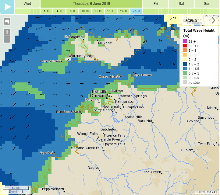 Example map showing the wave height forecast around Darwin