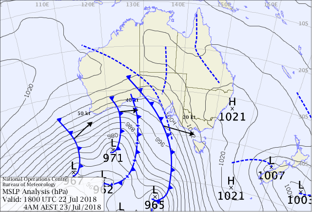 Weather map showing a succession of cold fronts advancing across the southern half of Australia.