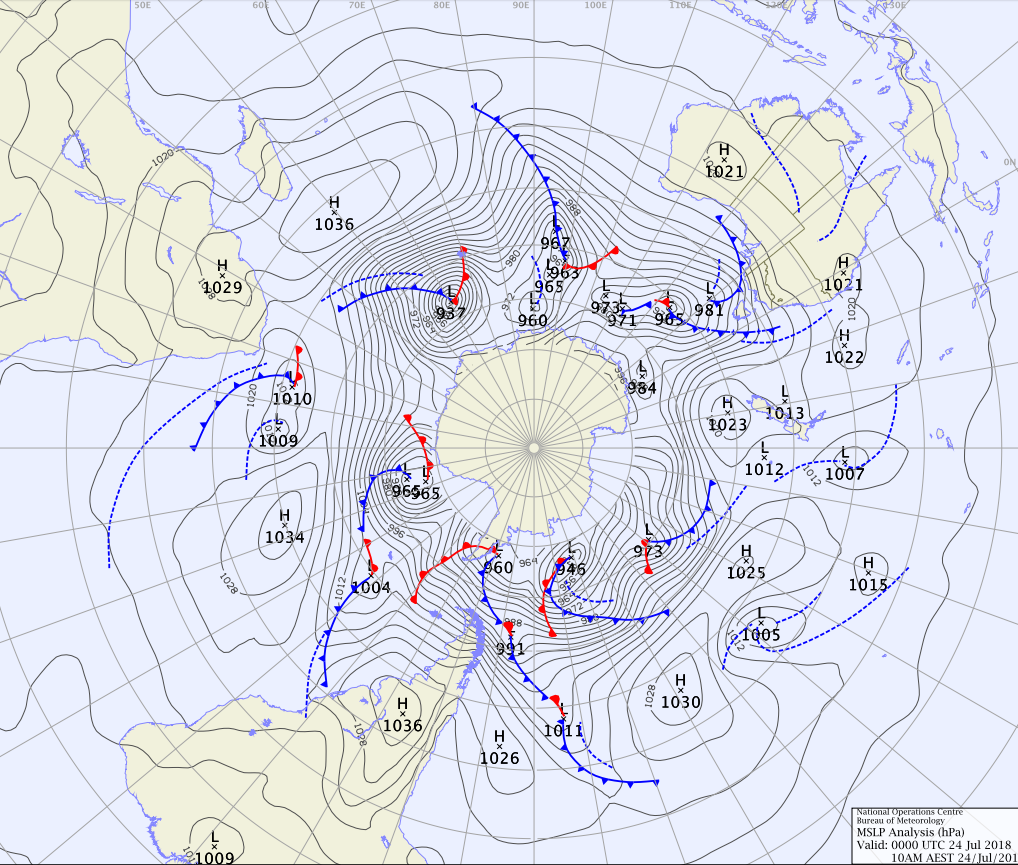 Weather map of southern hemisphere showing warm fronts as well as cold fronts.